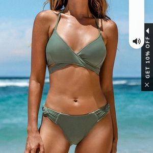 NWT Cupshe Small Dusty Green Strappy Wrap Bikini